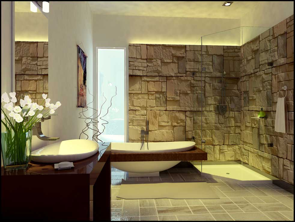 And Exotic Stone Wall Bathroom Idea By Arkiden